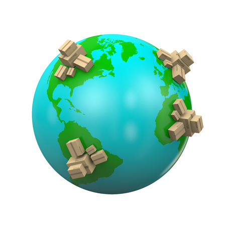 Heaps of Cardboard Boxes on the Earth 3D Illustration, Worldwide Shipping Concept