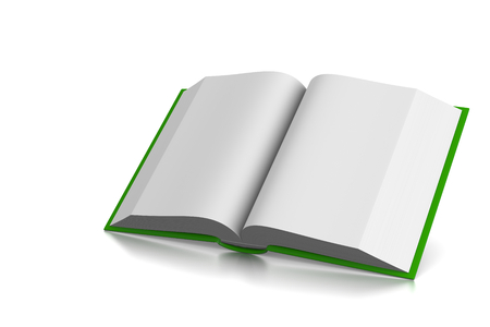 text books: Green Cover Open Book with Blank Pages on White Background 3D Illustration