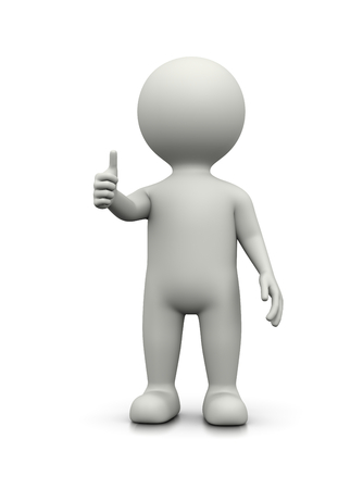 concord: White 3D Character Showing Raised Thumb on White Background Illustration Stock Photo
