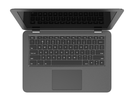 pc monitor: Black Laptop Computer with Blank Black Screen Isolated on White Background 3D Illustration, Top View