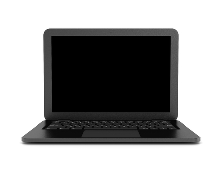Black Notebook Computer with Blank Black Screen on White Background 3D Illustration, Front View