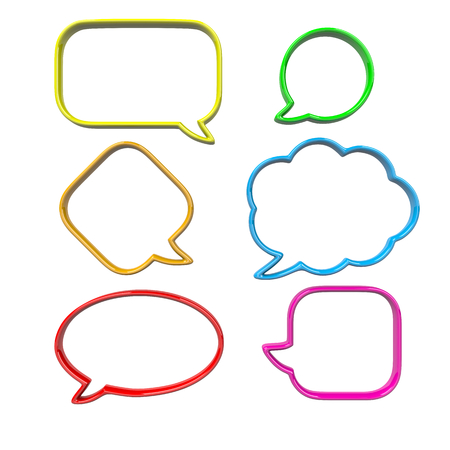 speach: Colorful, Empty and Blank 3D Comic Speech Bubbles Set Isolated on White Background Stock Photo