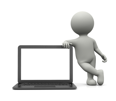 leaned: White 3D Character Leaned on a Laptop Computer with White Blank Screen 3D Illustration on White Background Stock Photo