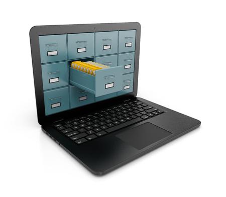 Rack d'archives métalliques avec un tiroir ouvert Plein de dossiers de documents jaunes sortant d'un écran d'ordinateur portable Illustration 3D sur fond blanc