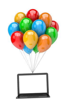 customizable: Bunch of Vibrant Color Balloons Holding Up a Blank Screen Laptop Computer on White Background 3D Illustration
