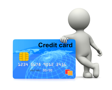 leaned: White 3D Character Leaned on a Credit Card 3D Illustration on White Background