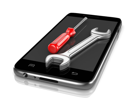 mobile cellular: Smartphone with a Screwdriver and a Spanner on the Screen 3D Illustration on White Background Stock Photo