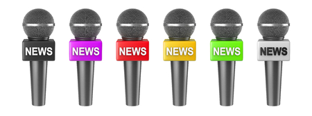 black yellow: Press News Microphone Series Isolated on White Background 3D Illustration