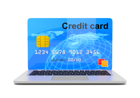 instead: Laptop Computer with a Credit Card Instead of the Screen 3D Illustration on White, Online Payment Service Concept Stock Photo