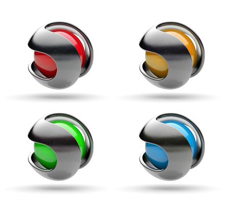 Metallic Path Around a Spherical Colorful Core 3D Illustration Banco de Imagens