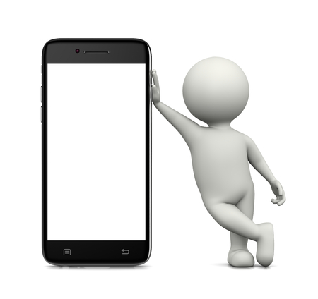leaned: White 3D Character Leaned on a Standing White Blank Display Smartphone 3D Illustration on White Background Stock Photo