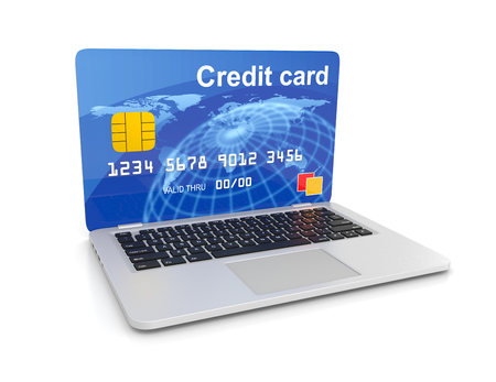 Laptop Computer with a Credit Card Instead of the Screen 3D Illustration on White, Online Payment Service Concept Stock Photo