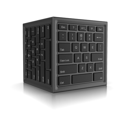 Cube Shape with Computer Keyboard on Faces 3D Illustration on White