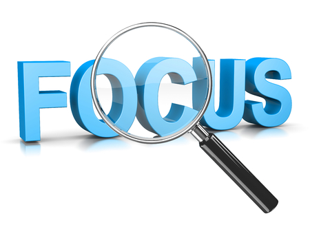 concentrating: Magnifier Glass Focused on Focus Blue Text 3D Illustration on White Stock Photo
