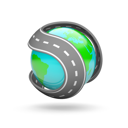 Curved Road Around the Earth 3D Illustration on White Background Stock Photo