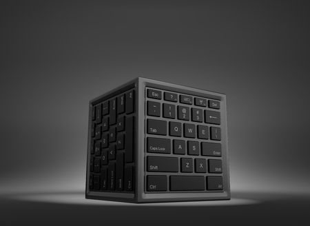 computational: Cube Shape with Computer Keyboard on Faces 3D Illustration