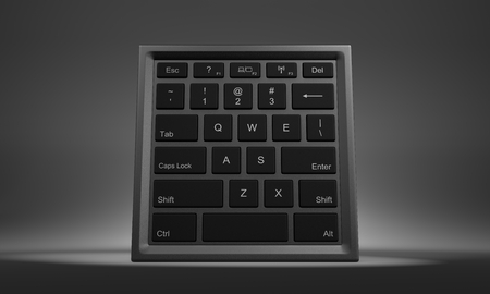 computational: Cube Shape with Computer Keyboard on Faces 3D Illustration Front View Stock Photo