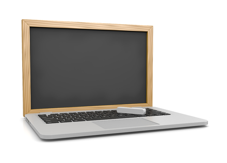 instead: Laptop Computer with a Blank Chalkboard Instead of the Display 3D Illustration on White, E-learning Concept