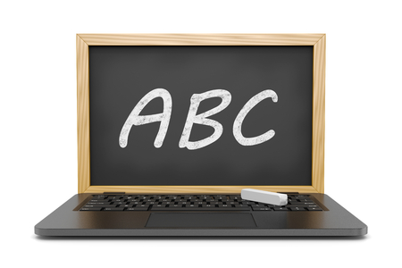 instead: Laptop Computer with an ABC Text Blackboard Instead of the Display 3D Illustration on White, E-learning Concept