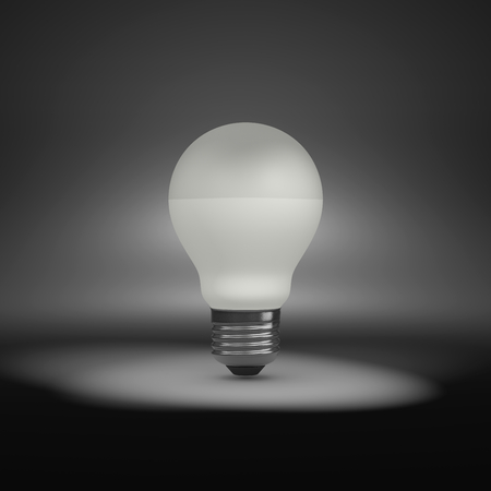One Single LED Light Bulb Under Spotlight Stock Photo, Picture And ...
