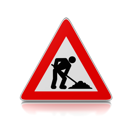 Red and White Man at Work Warning Triangle Road Sign on White Background 3D Illustration