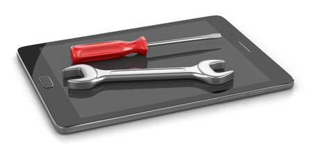 maintenance work: Tablet Pc with a Screwdriver and a Spanner on the Screen 3D Illustration on White Background Stock Photo