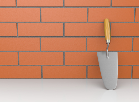 leaned: One Trowel Leaned Against a Wall 3D Illustration