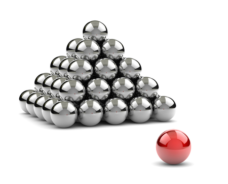 Pyramid of Metallic Balls with One Red Separated on White Background 3D Illustration