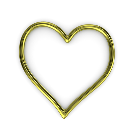 pictureframe: One Single Heart Shape Gold Ring Frame Isolated on White Background 3D Illustration