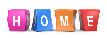 Home White Text on Colorful Deformed Funny Cubes 3D Illustration on White Background Imagens