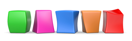 Five Colorful Deformed Blank Funny Cubes 3D Illustration on White Background