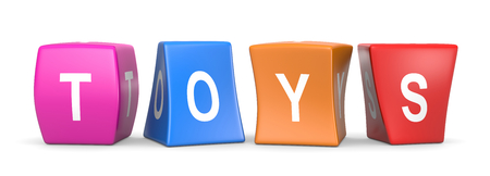 Toys White Text on Colorful Deformed Funny Cubes 3D Illustration on White Background