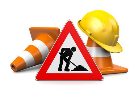 Sitio de construcción, casco, tráfico conos y en construcción Roadsign aisladas sobre fondo blanco 3D renderizado Foto de archivo