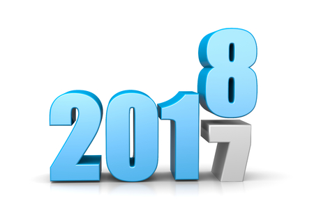 Blue 2018 Year Number Text on Top of 2017 on White Background 3D Illustration. Time Passes Concept Stock Photo