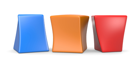 Three Colorful Deformed Blank Funny Cubes 3D Illustration on White Background
