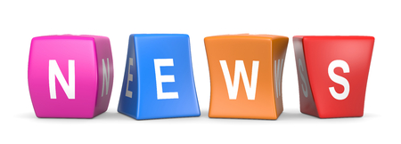 News White Text on Colorful Deformed Funny Cubes 3D Illustration on White Background Imagens - 78281512