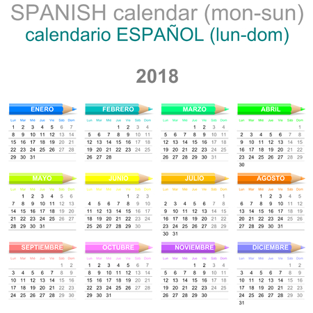 Colorful Monday to Sunday 2018 Calendar with Crayons Spanish Version Illustration