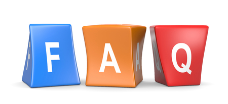 FAQ White Text on Colorful Deformed Funny Cubes 3D Illustration on White Background Фото со стока - 78248252