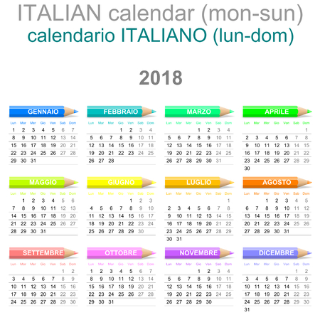 Colorful Monday to Sunday 2018 Calendar with Crayons Italian Version Illustration