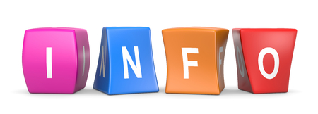 Info White Text on Colorful Deformed Funny Cubes 3D Illustration on White Background Imagens