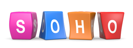 SOHO White Text on Colorful Deformed Funny Cubes 3D Illustration on White Background