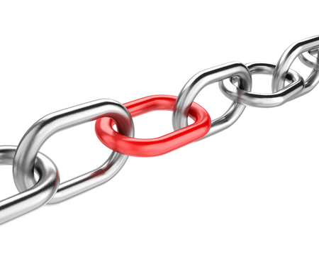 enchain: Metal Chain with One Single Red Link Isolated on White Background 3D Illustration