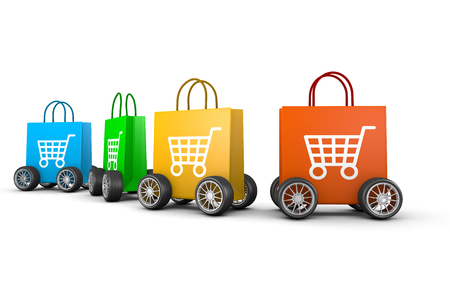 Colorful Shopping Bags with Cart Symbol and Wheels Aligned on White Background 3D Illustration