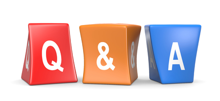 Colorful Funny Cubes on White Background Question and Answer Concept 3D Illustration