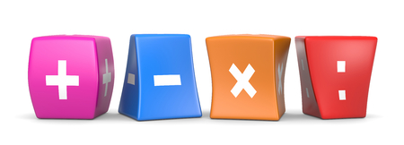 multiplication: Four Math Operators White Symbols on Colorful Deformed Funny Cubes 3D Illustration on White Background