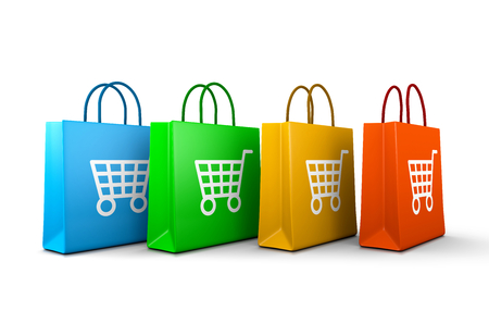 Four Colorful Shopping Bags with Cart Symbol Aligned on White Background 3D Illustration