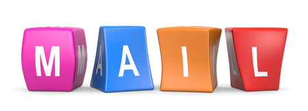 Mail White Text on Colorful Deformed Funny Cubes 3D Illustration on White Background