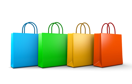 Four Colorful Shopping Bags Aligned on White Background 3D Illustration