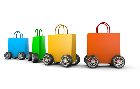 Colorful Shopping Bags with Wheels Aligned on White Background 3D Illustration