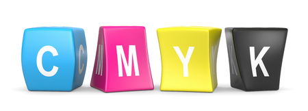 CMYK Colors Deformed Funny Cubes with CMYK Text 3D Illustration on White Background Stock Photo